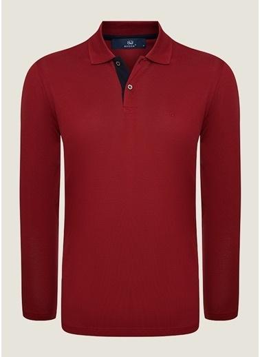 Bisse SW18K18202 Regular Fit Dokulu Polo Yaka Sweatshirt Kırmızı